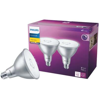 Philips 45W Equivalent Bright White PAR38 Medium Indoor/Outdoor LED Floodlight Light Bulb (2-Pack)