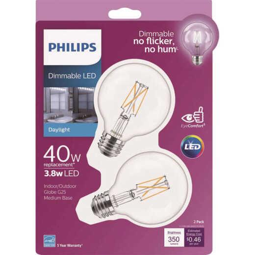 Philips 40W Equivalent Daylight G25 Medium Clear LED Decorative Light Bulb (2-Pack)