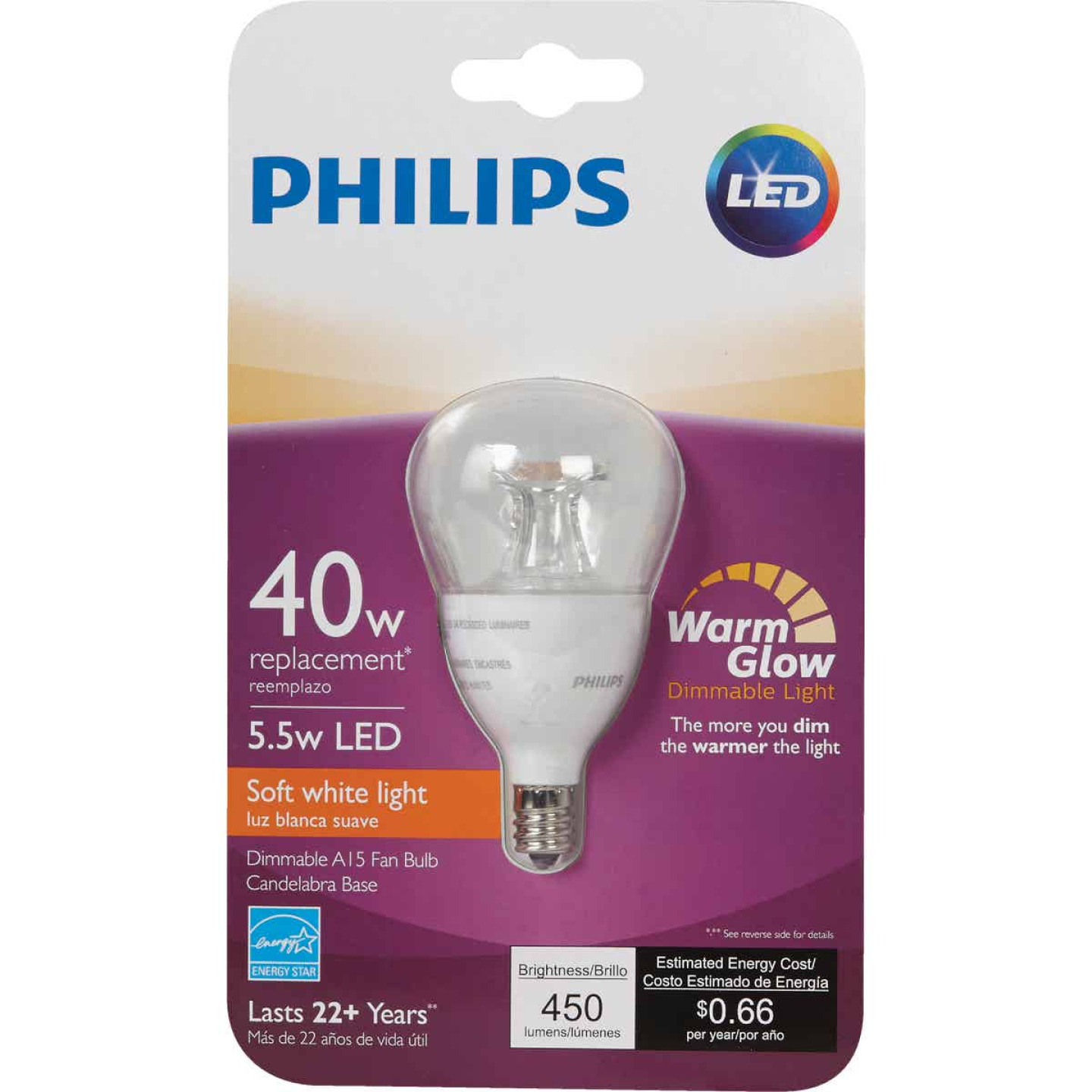 Philips Warm Glow 40W Equivalent Soft White A15 Candelabra Dimmable LED Light Bulb Image 2