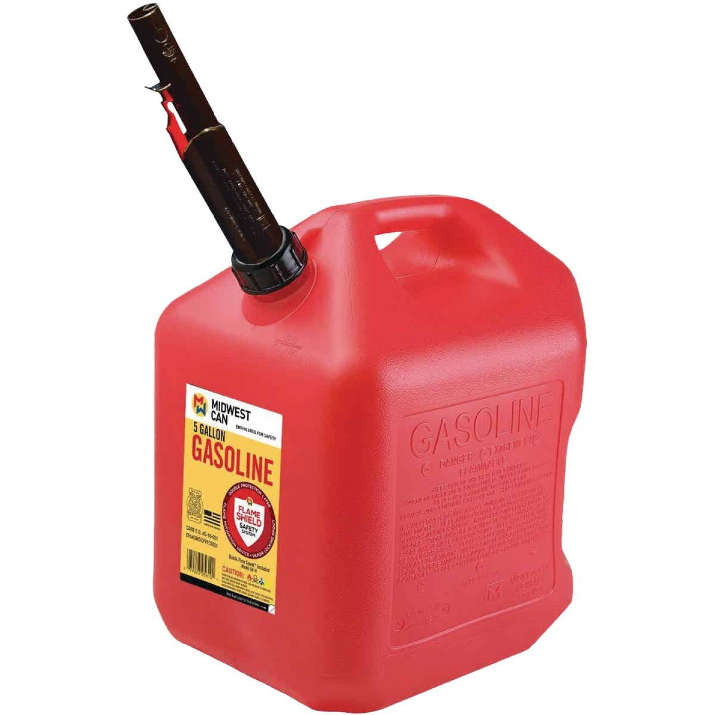 Midwest Can 5 Gal. Plastic Auto Shut Off Gasoline Fuel Can, Red Image 1