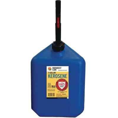 Midwest Can 5 Gal. Plastic Auto Shut Off Kerosene Fuel Can, Blue