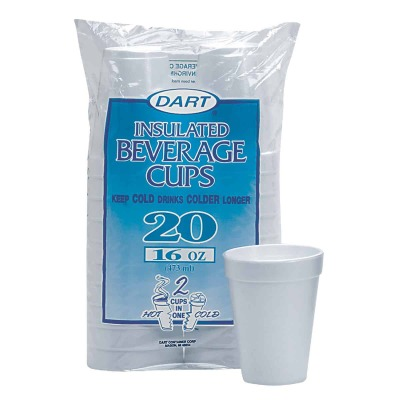 Dart 16 Oz. Insulated Beverage Foam Cups (20 Count)