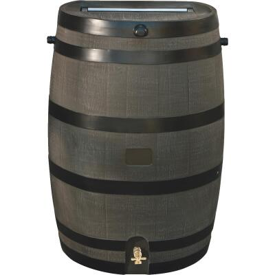 RTS Home Accents 50 Gal. Brown Woodgrain Polyethylene Rain Barrel