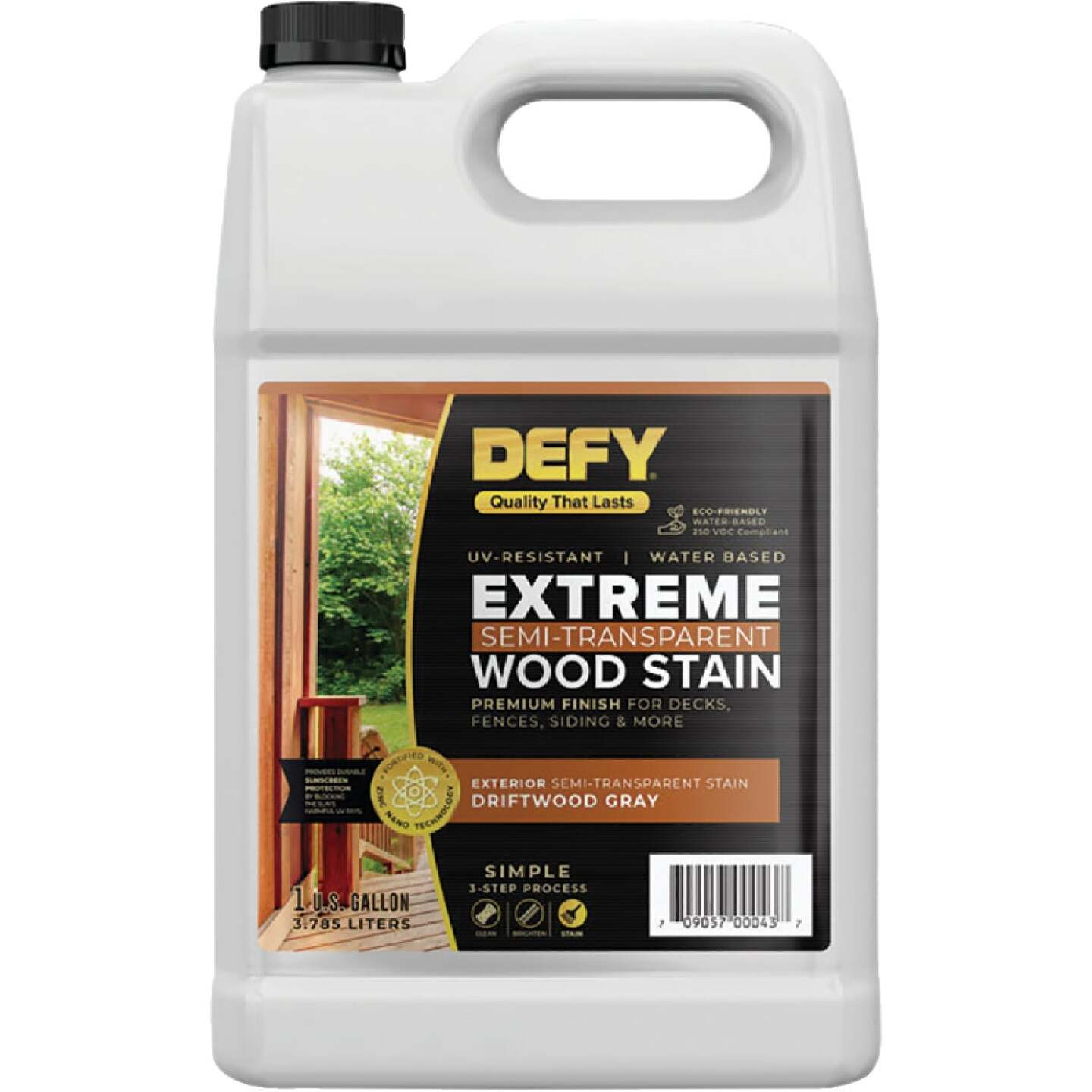 DEFY Extreme Semi-Transparent Exterior Wood Stain, Driftwood Gray, 1 Gal. Bottle Image 1