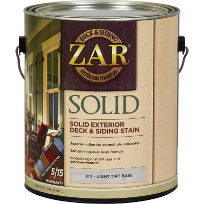 ZAR Solid Deck & Siding Stain, Light Tint Base, 1 Gal.