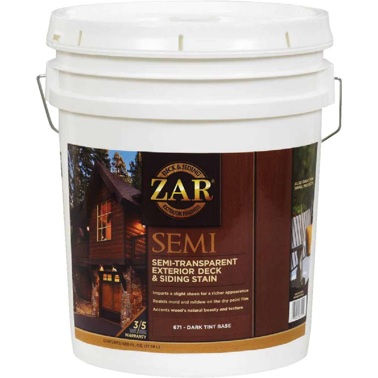 ZAR Semi-Transparent Exterior Deck & Siding Stain, Dark Tint Base, 5 Gal. Image 1