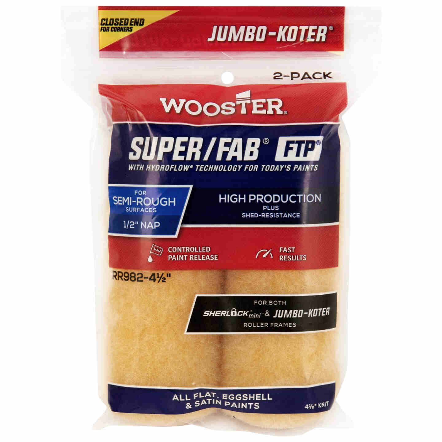 Jumbo-Koter S/F FTP 4-1/2 In. x 1/2 In. Knit Roller Cover (2-Pack) Image 1
