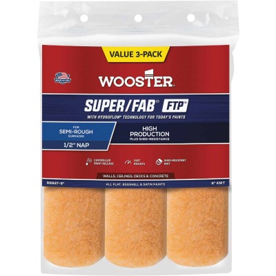 Wooster Super/Fab FTP 9 In. x 1/2 In. Knit Fabric Roller Cover (3- Pack)
