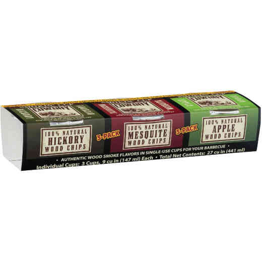 Cowboy 9 Cu. In./Cup Hickory, Apple, Mesquite Smoking Chunks Cup (3-Pack)